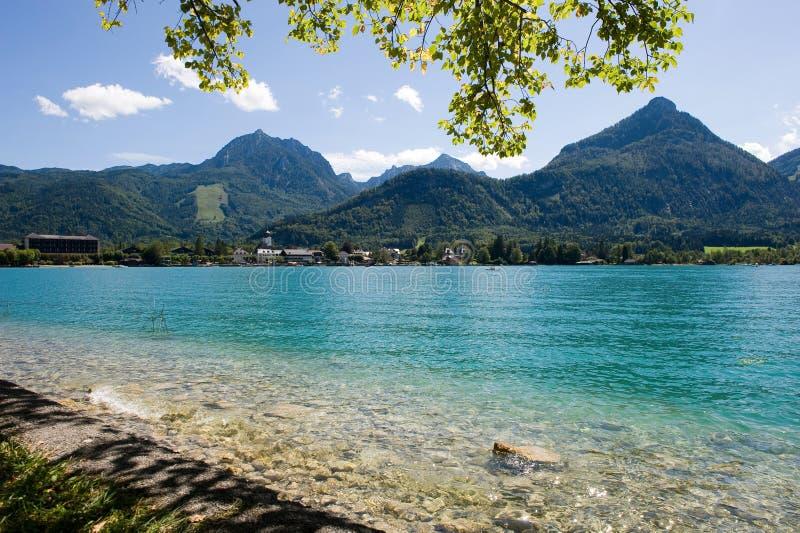 Wolfgangsee in Austria. The rocky waterside of the Wolfgangsee in Austria stock image