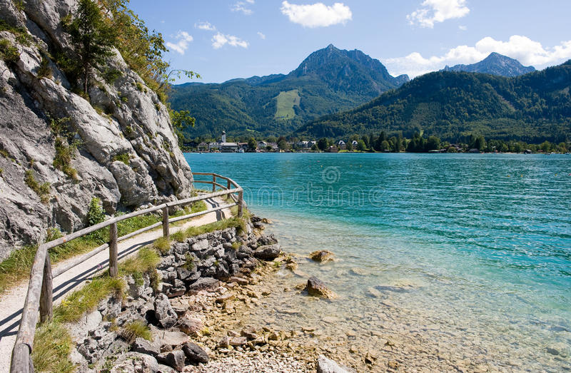 Wolfgangsee in Austria. Small path over the banks of the Wolfgangsee in Austria royalty free stock photos