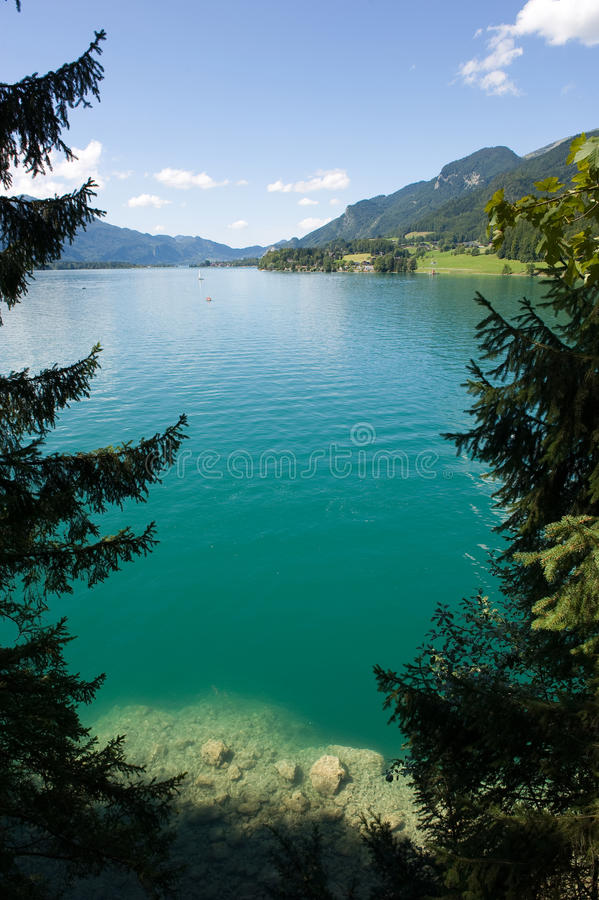Wolfgangsee in Austria. The turquoise water of the Wolfgangsee in Austria royalty free stock photos