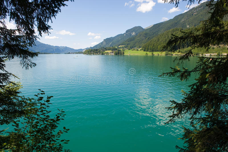 Wolfgangsee in Austria. The turquoise water of the Wolfgangsee in Austria stock image