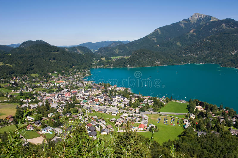 Wolfgangsee in Austria. View from the zwolferhorn mountain on to the city of st.Gilgen and the Wolfgangsee in Austria royalty free stock image