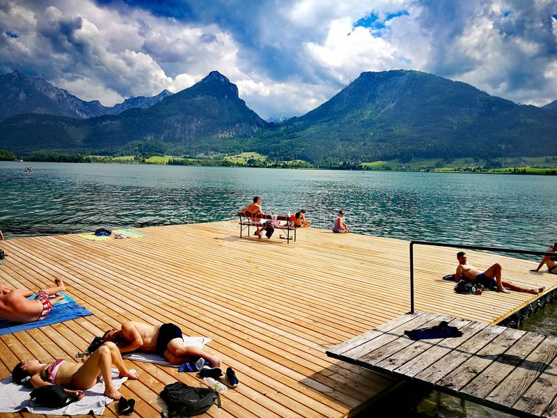 Wolfgangsee. Bayern with bergs stock images