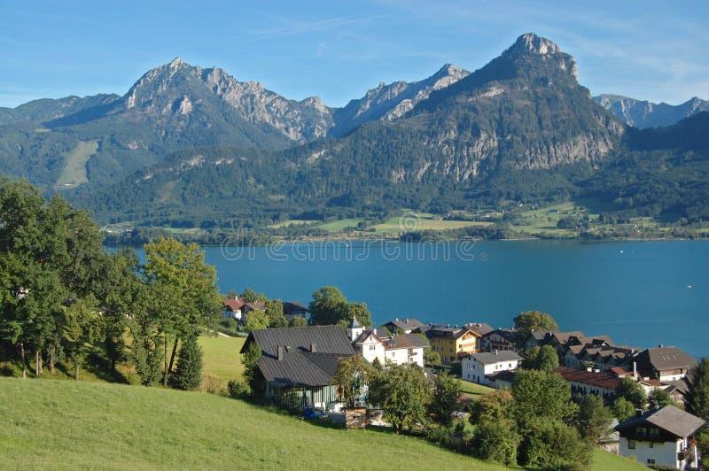 Wolfgangsee lake. View of Wolfgangsee lake and St.Wolfgang stock images