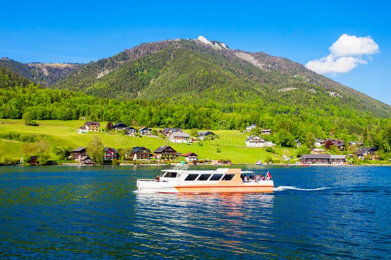 Wolfgangsee lake in Austria. Boat trip on Wolfgangsee lake in Austria. Wolfgangsee is one of the best known lakes in the Salzkammergut resort region of Austria stock photography