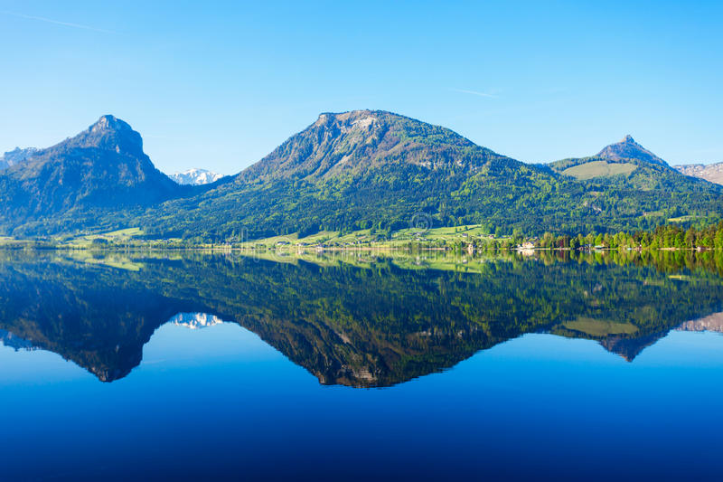 Wolfgangsee lake in Austria. Wolfgangsee is one of the best known lakes in the Salzkammergut resort region of Austria stock photography