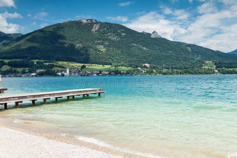Wolfgangsee lake with turquoise waters in Austria. Wolfgangsee lake with turquoise waters close to Salzburg in Austria royalty free stock photos