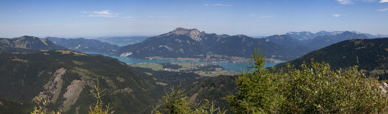 Wolfgangsee. View to Wolfgangsee and Schafberg mountain from Postalm area royalty free stock images
