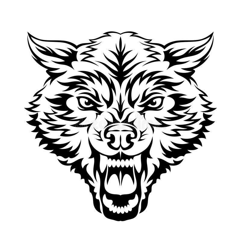Wolfhuvud vektor illustrationer