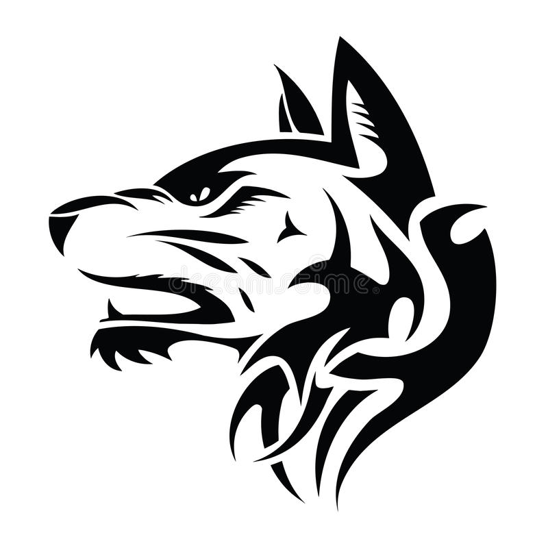 Wolfhuvud - stam- tatuering stock illustrationer