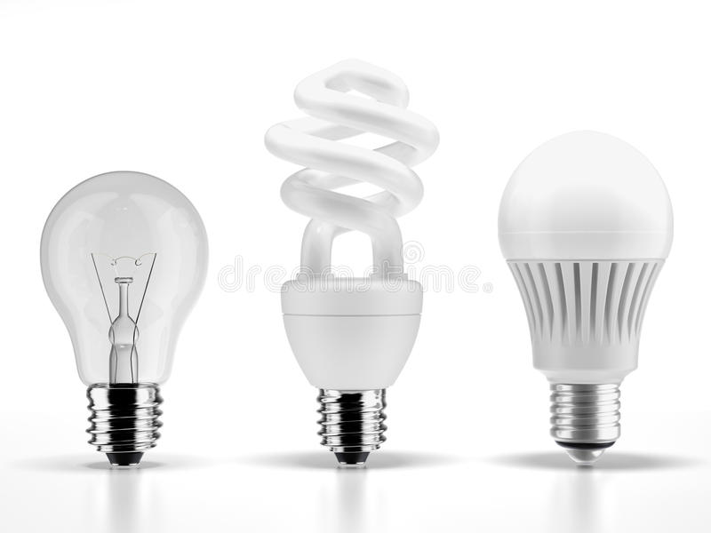 Wolframu, fluorescencyjnych i DOWODZONYCH żarówki, ilustracji