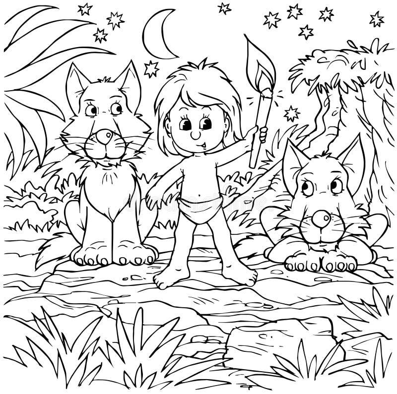wolfs пакета мальчика иллюстрация штока