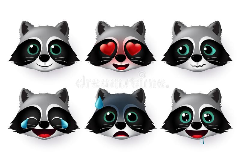 Wolfs emoji or emoticon vector set. Wolf face emojis avatar character in  hungry, scared, laughing. stock photography