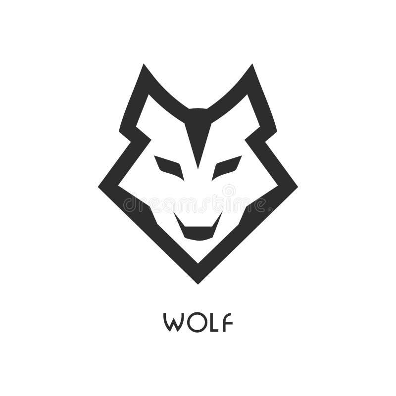 Wolfs hoofdpictogram op witte achtergrond stock illustratie