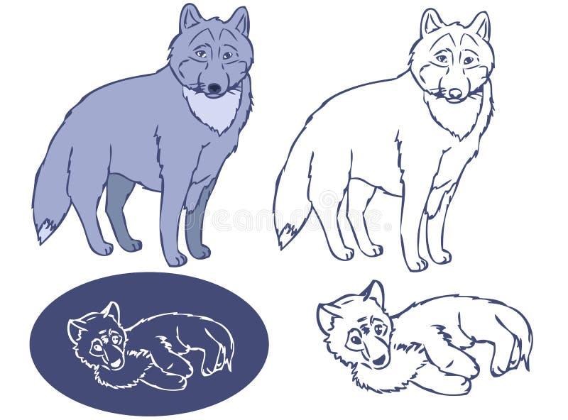 Wolfs pochoir le grand et de petit animal illustration de vecteur