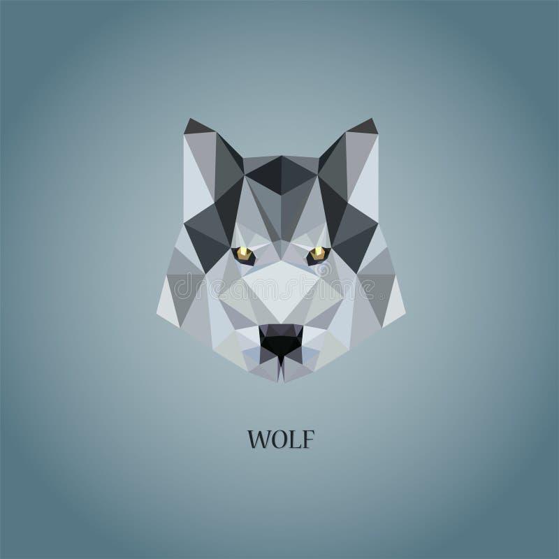 Wolfs` s embleem in de stijl die van Poly Laag wordt geschilderd royalty-vrije illustratie