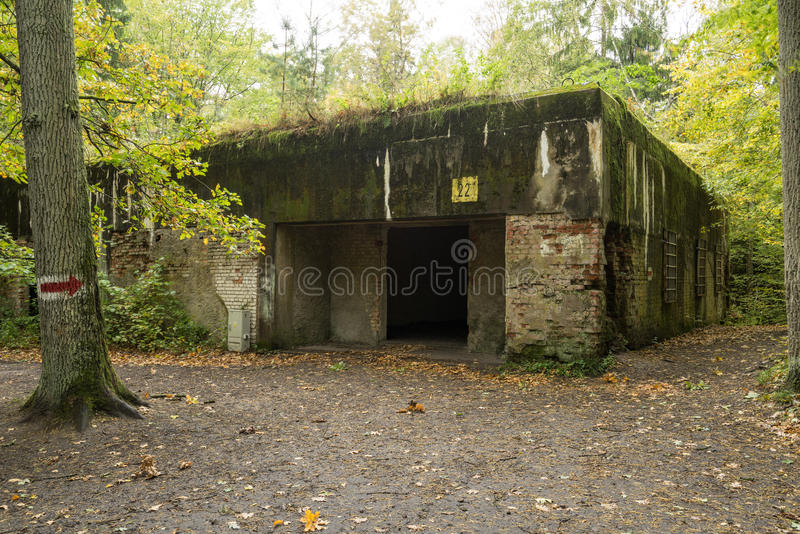 Wolfs` s Leger, de Bunker van Adolf Hitler ` s, Polen Eerste Oostelijk Voor militair hoofdkwartier, Wereldoorlog II Geblazen comp stock fotografie