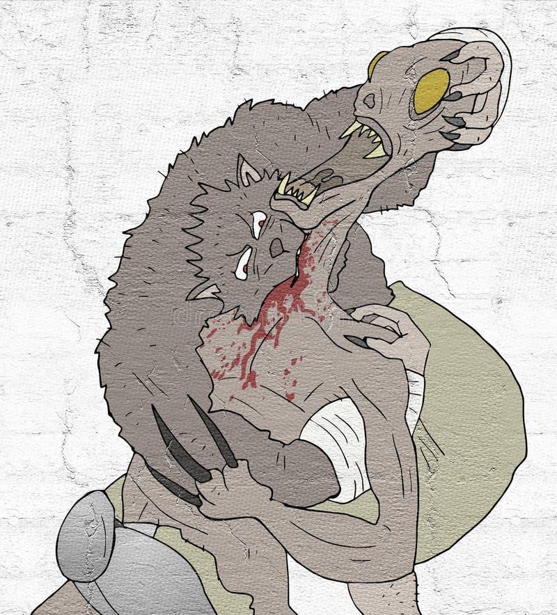 Wolfsaanval stock illustratie
