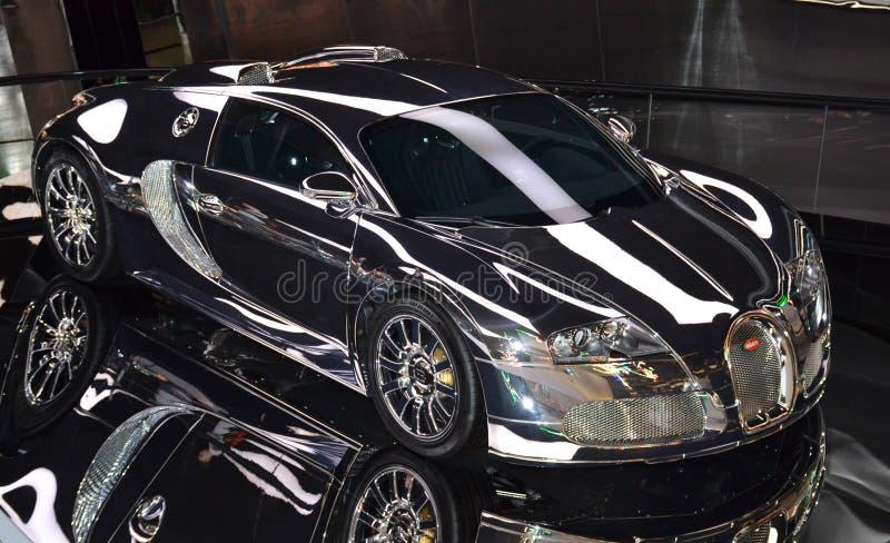 Italian supercar Bugatti Veyron EB 16.4 at the museum of the Volkswagen Autostadt. stock photo