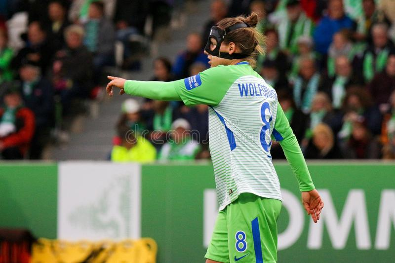 Soccer player Babett Peter during a match UEFA Women`s Champions League. royalty free stock photography