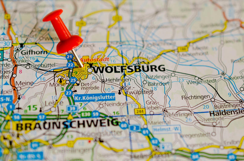 Wolfsburg on map stock image Image of city autostadt 96099495