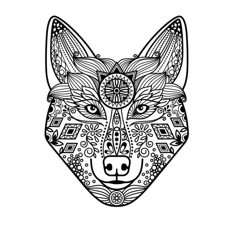 Wolfshoofd met hand getrokken ornament stock illustratie