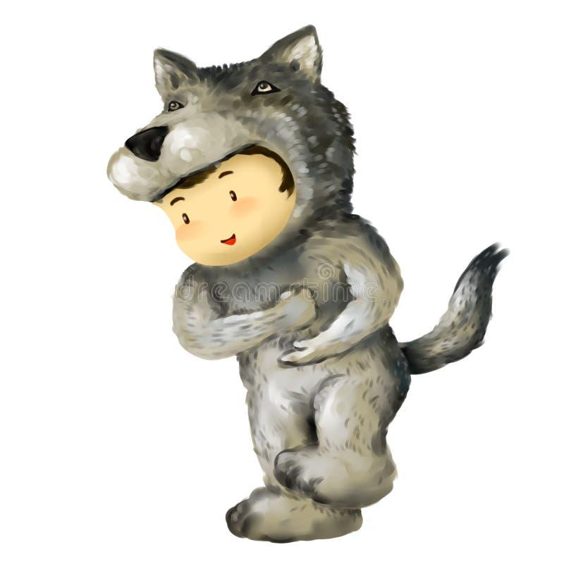 Wolfsjongen, jong geitje in wolfskostuum stock illustratie