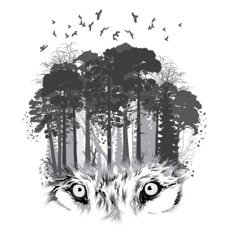 Wolfssilhouet op bosachtergrond royalty-vrije stock afbeeldingen