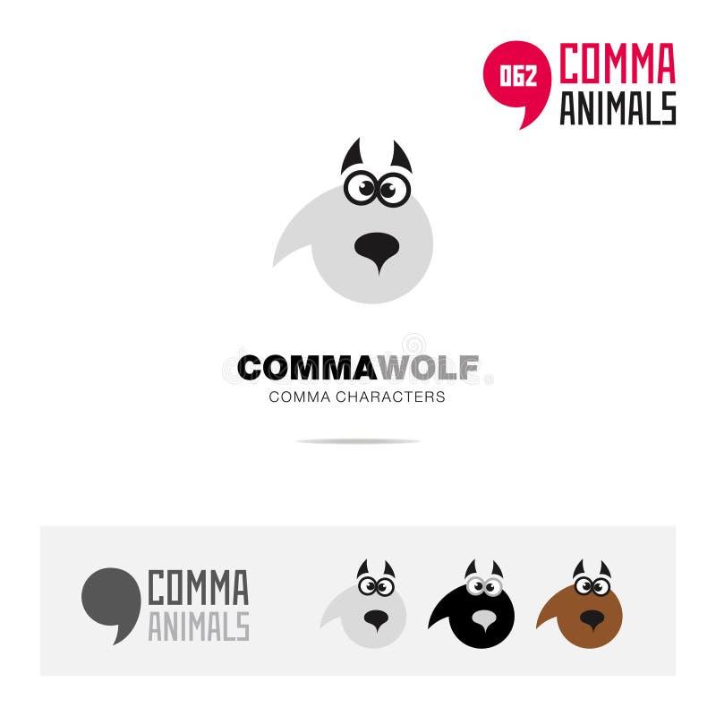 Wolfunterzeichnen Tierkonzept-Ikonensatz und moderne Markenidentitätslogoschablone und APP-Symbol, das auf Komma basiert vektor abbildung