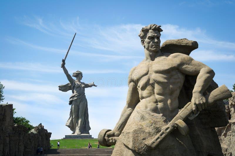 wolgagrad Das komplexe Erinnerungsmamaev Kurgan stockfotos