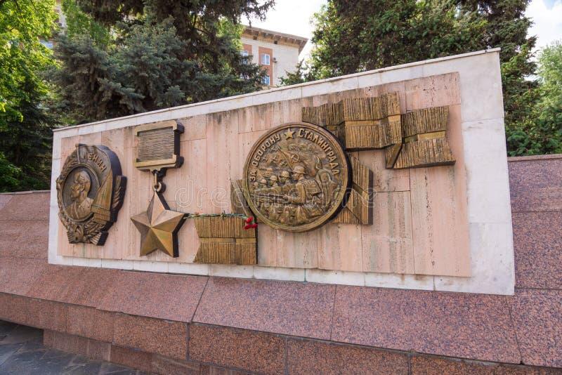wolgagrad Russland - 11. Mai 2017 Flachrelief-Bestellung von Lenin, der die Sowjetunions-Held, Medaille für die Verteidigung von  lizenzfreies stockfoto