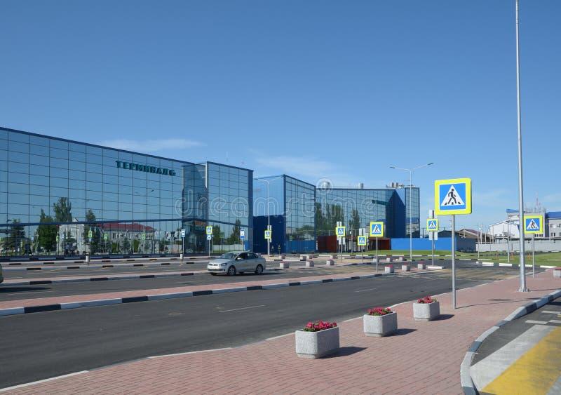 WOLGOGRAD, RUSSLAND - 28. MAI 2018: Internationaler Flughafen Gumrak stockfotografie