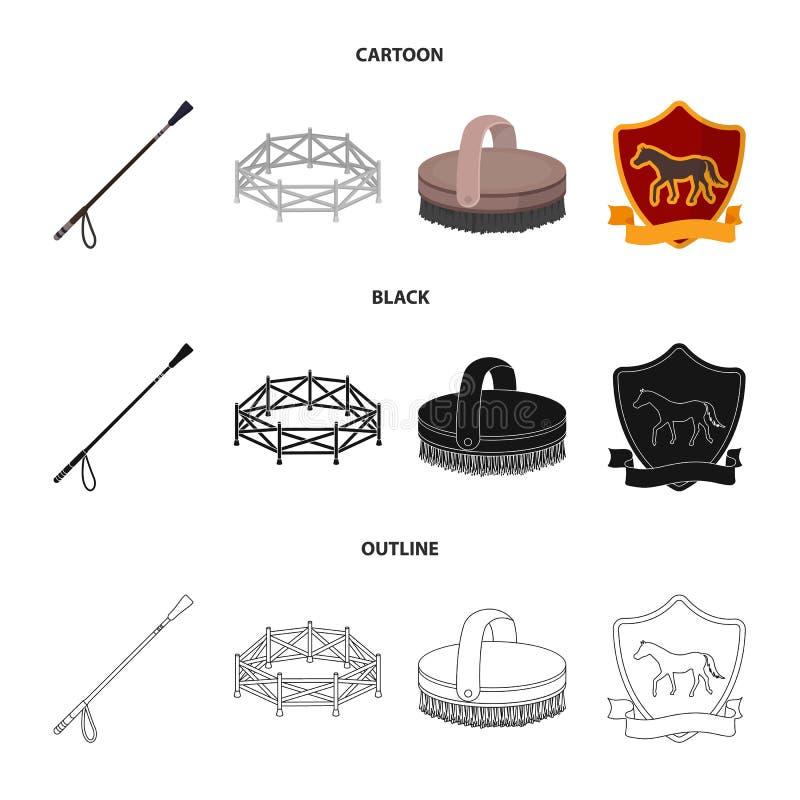 Woliera, bat, emblemat, hipodrom Hipodromu i konia ustalone inkasowe ikony w kreskówce, czerń, konturu stylowy wektorowy symbol ilustracja wektor