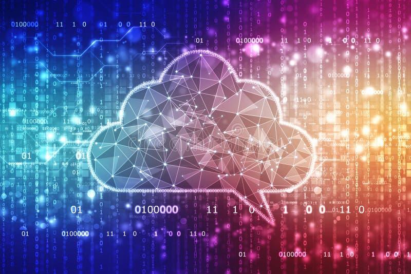 Wolk de Achtergrond van de Gegevensverwerkingstechnologie, Wolk met Binair getal op abstracte achtergrond stock foto