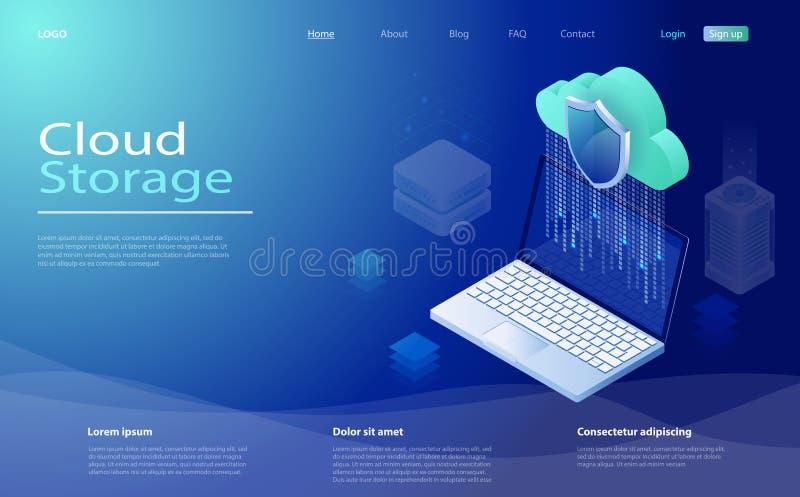 Wolk de gebruikersnetwerk van de gegevensverwerkingstechnologie De wolken gegevens verwerkende dienst, de servers van het opslagn vector illustratie