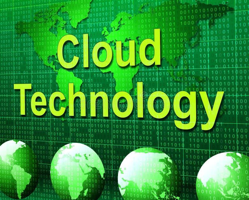 Wolk de Gegevensverwerking vertegenwoordigt Informatietechnologie en Mededeling stock illustratie