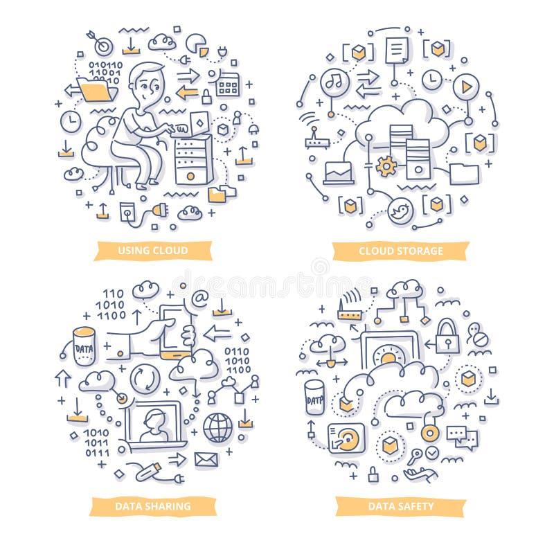 Wolk de Illustraties van de Gegevensverwerkingskrabbel stock illustratie