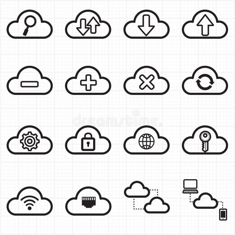 Wolk de pictogrammen van het gegevensverwerkingsnetwerk vector illustratie