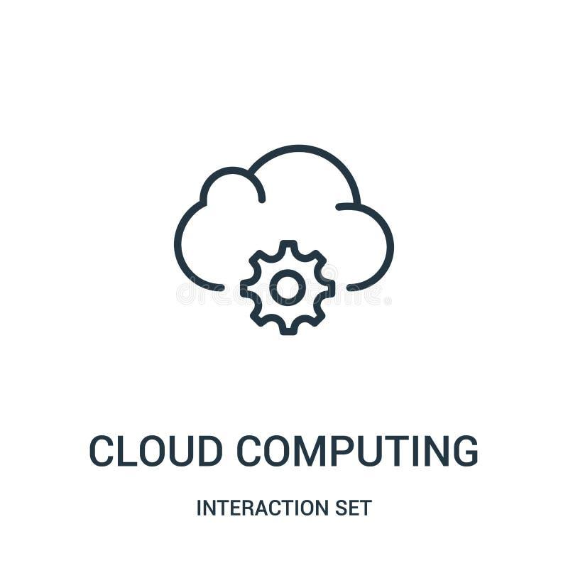 wolk de vector van het gegevensverwerkingspictogram van interactie vastgestelde inzameling Dunne lijnwolk het pictogram vectorill stock illustratie