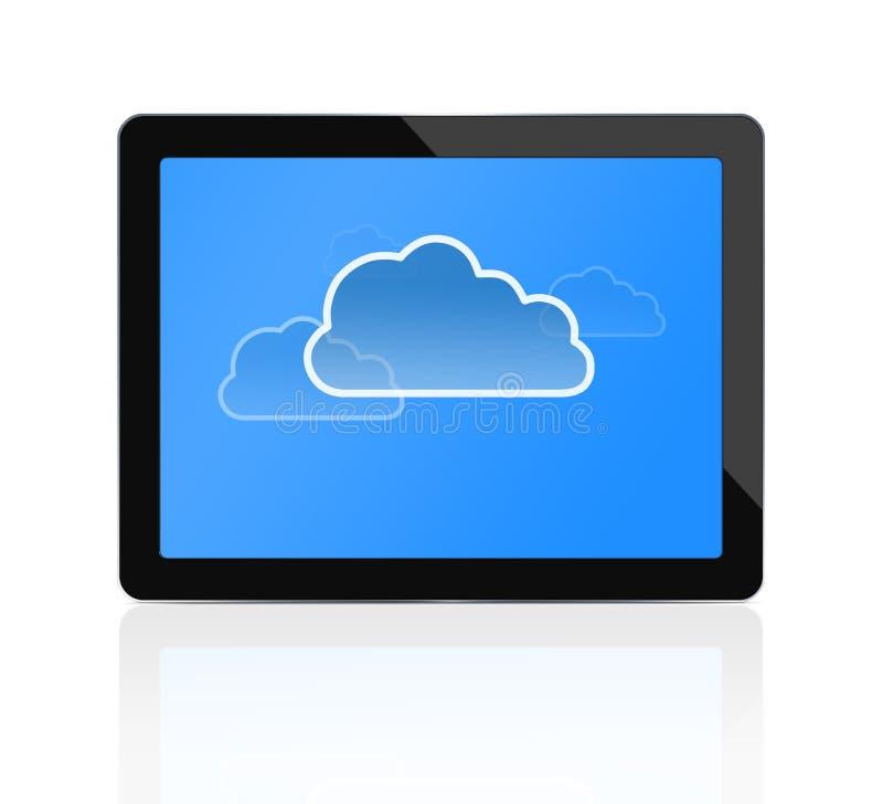 Wolk die bij digitale tablet gegevens verwerkt royalty-vrije illustratie