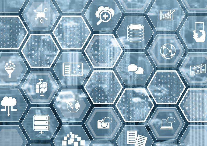 Wolk die blauwe vage achtergrond met hexagon vormen en symbolen gegevens verwerken royalty-vrije illustratie