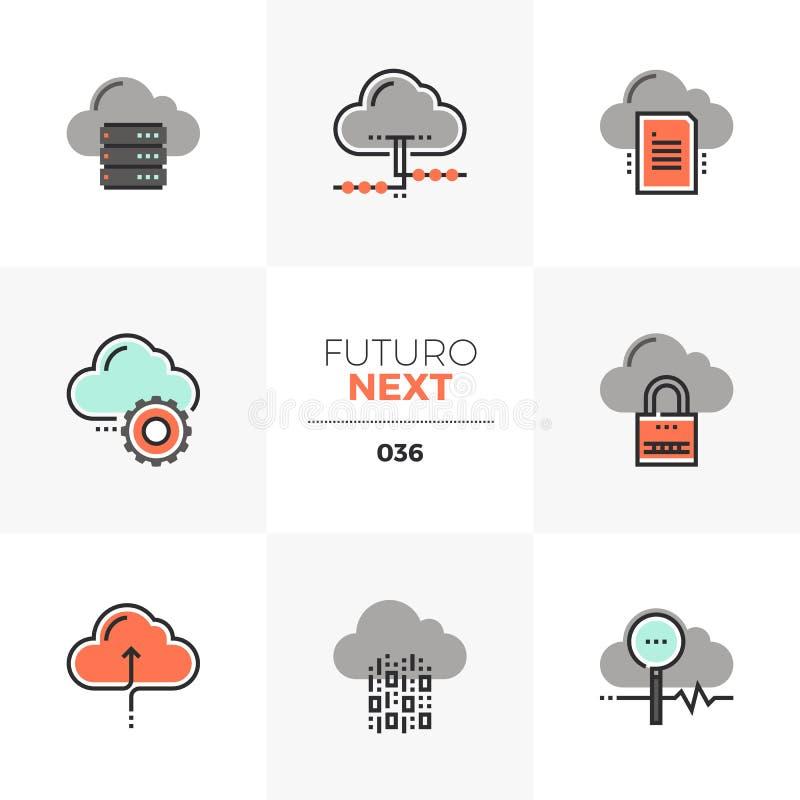 Wolk die de Volgende Pictogrammen van Futuro gegevens verwerken vector illustratie