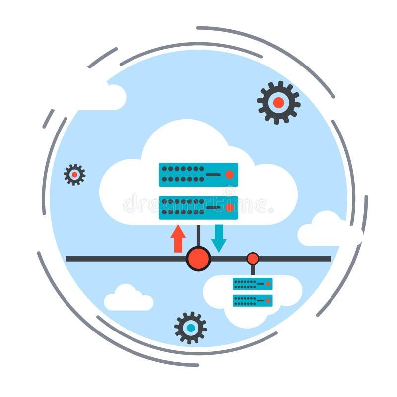 Wolk die, gegevensopslag, afstandsbediening vectorconcept gegevens verwerken stock illustratie