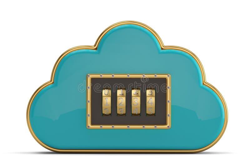Wolk die Internet-blauw glanzend de wolkenpictogram gegevens verwerken van het veiligheidsconcept vector illustratie
