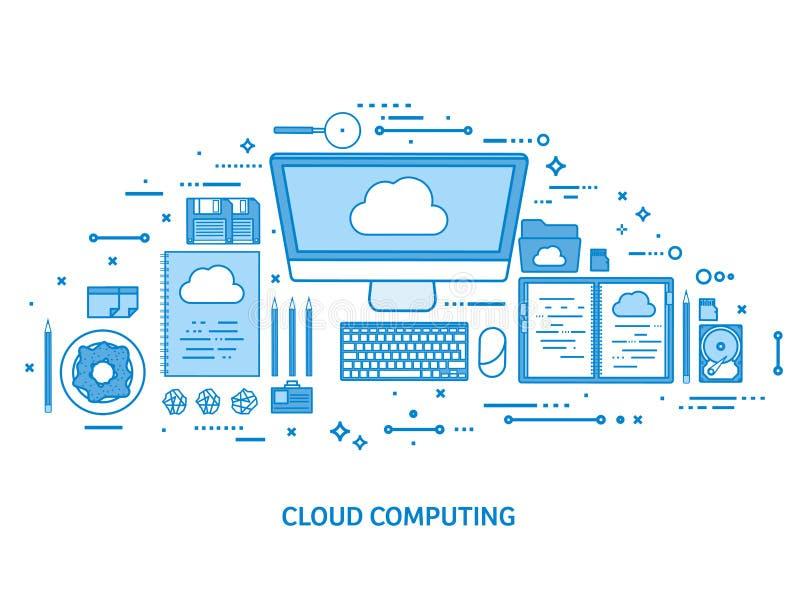 Wolk die, media gegevensserver gegevens verwerken Webopslag Digitale Technologie De aansluting van Internet Vlak blauwe overzicht vector illustratie