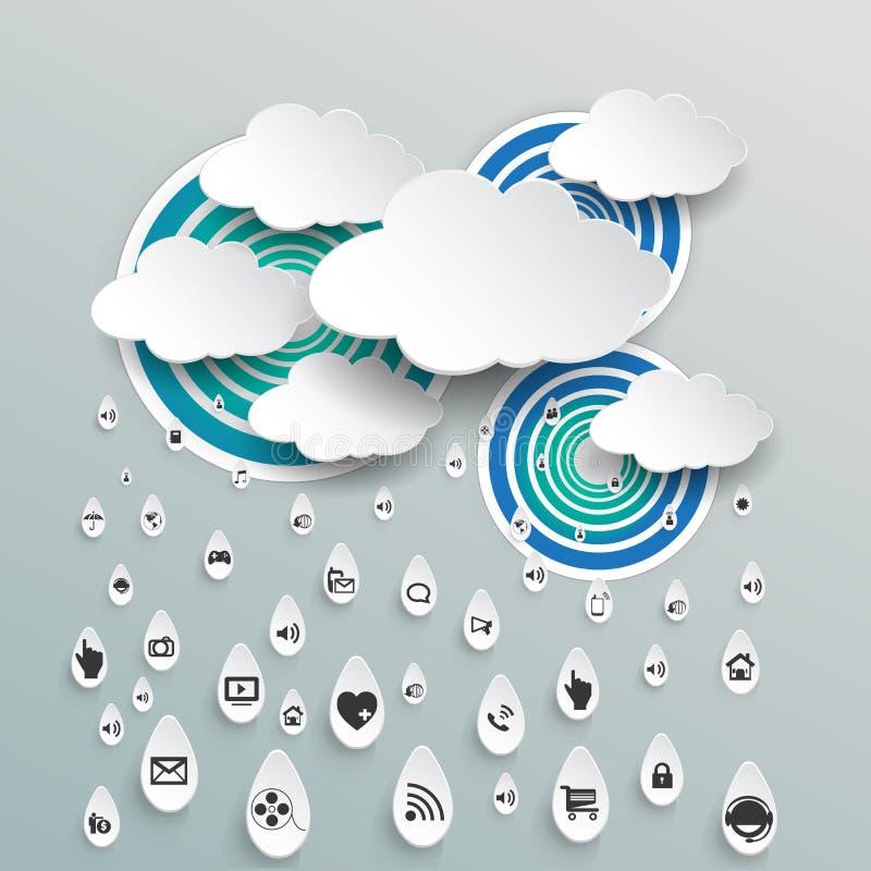 Wolk die met pictogram in regendalingen gegevens verwerken vector illustratie