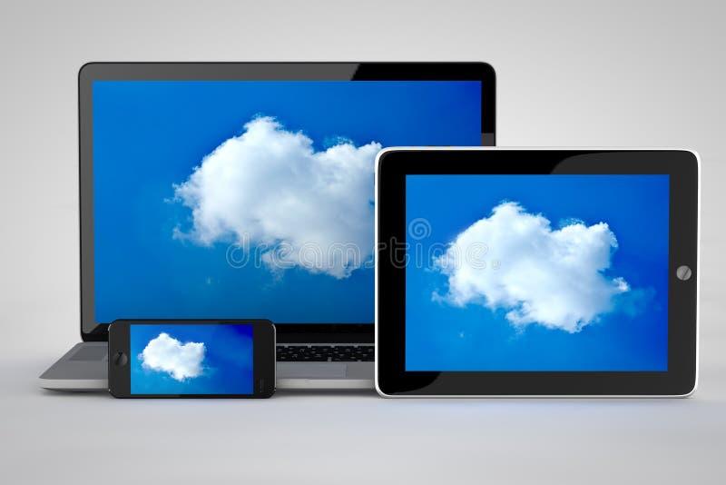 Wolk die met tablet gegevens verwerken royalty-vrije illustratie