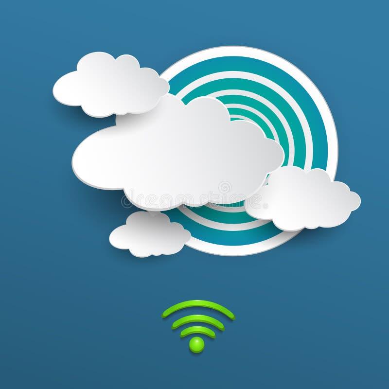 Wolk die met WiFi-symbool op blauwe achtergrond gegevens verwerken royalty-vrije illustratie