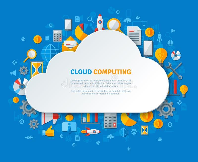 Wolk die met Wolkenkader en Vlakke Pictogrammen gegevens verwerken stock illustratie