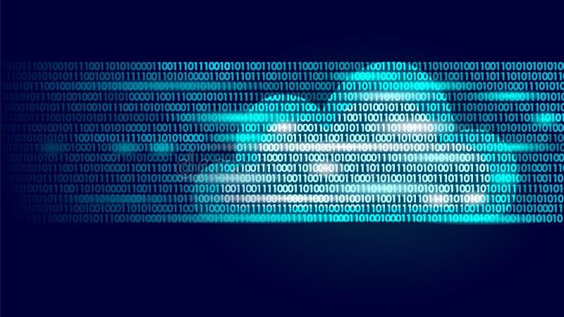 Wolk die online opslag binaire codenummers gegevens verwerken Grote van bedrijfs Internet van de gegevensinformatie toekomstige m vector illustratie