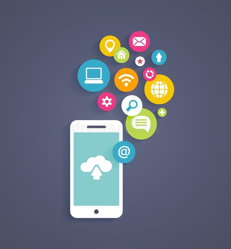 Wolk die op een mobiele telefoon gegevens verwerken stock illustratie